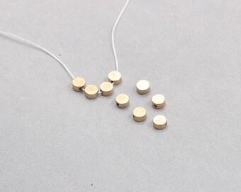 50Pcs, 5mm Raw Brass Round Beads , Hole Size 1mm , SJP-A048