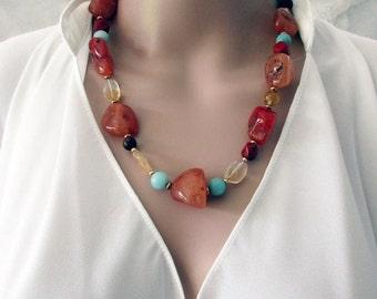 Stone Jewellery, Handmade Gemstone Necklace, Orange Necklace, Gift for Women, Fire Agate, Semi Precious Stones, Unique Design, 54cm(21.5In)