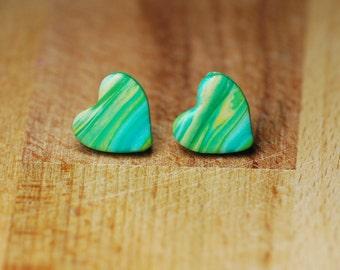 Heart Stud Earrings - Polymer Clay Earrings - Hypoallergenic Stud Earrings - Nickel Free Jewellery - Green Earrings - Fimo Earrings - Gift