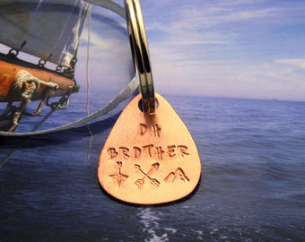 Oh Brother Copper Keyring Adventure Plectrum Gift Boxed  7th anniversary custom handmade compass arrows mountains