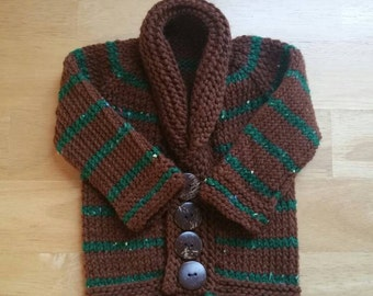 Striped infant sweater, brown baby shower, green striped baby, button front baby sweater, shawl collar sweater, sophisticated baby sweater