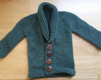 Button front baby sweater, ready to ship baby, green baby shower gift, gender neutral infant sweater