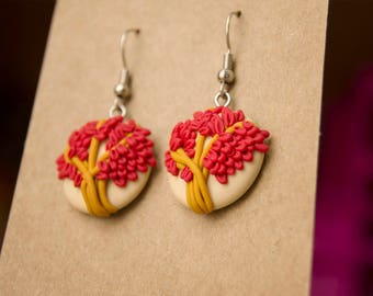 Polymer clay earrings, red tree earrings, tree earrings, nature earrings, nature complements, boho style hippie