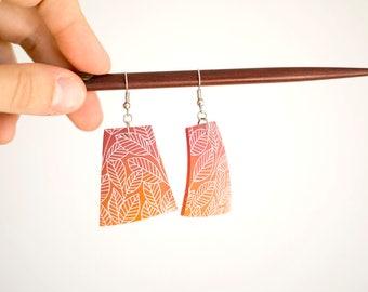 Polymer clay earrings, leaves earrings, pink earrings, big polygonal earrings, brown earrings, hippie earrings, boho eaerrings