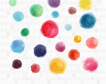 Watercolor Circles, Watercolor Blobs, Watercolor Clipart, Circle Labels, Watercolor Texture, Commercial Use, Watercolor Balls