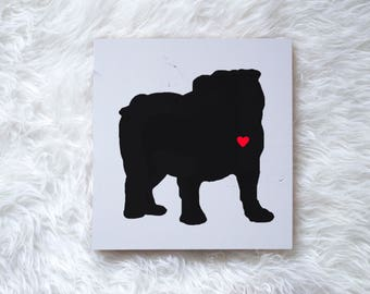 Hand Painted Bulldog Silhouette on Painted Grey Wood, Dog Decor, Dog Painting, Gift for Dog People, New Puppy Gift, Housewarming Gift, Gray