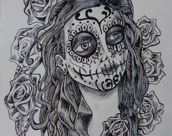 Day of the Dead girl with Moko