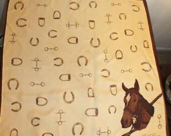 Ralph Lauren  Square  Silk Scarf – Equestrian Theme