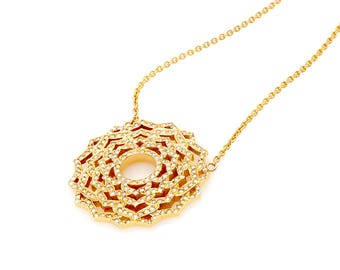 necklace, in 18 Kt gold, diamonds,  with the sahasrara chakra