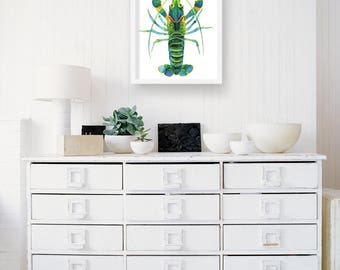 Turquoise Lobster Watercolor | Lobster Art Print | Blue Lobster Illustration | Lobster Wall Art | Green Lobster Decor | Watercolor Painting