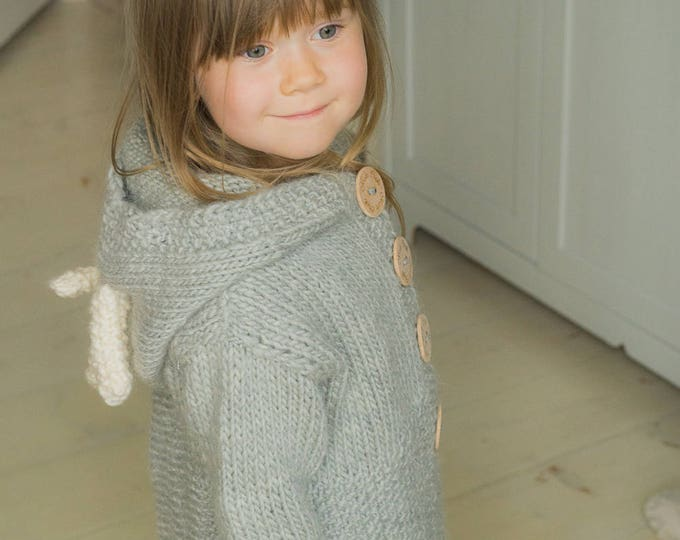 KNITTING PATTERN reindeer cardigan Anje with hood and antlers (toddler and kids sizes)