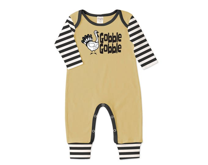 Newborn Thanksgiving Romper Black and Yellow, Baby Boy and Girl Thanksgiving Bodysuit, Turkey, Black Stripes, Gobble, Tesababe RP810MDIB007C