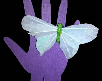 "Adjustable ring "" FAIRY BUTTERFLY "" pastel green with white spots"