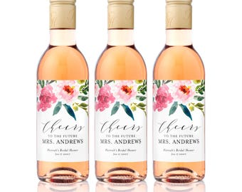 Bridal Shower MINI WINE Bottle Labels - Weatherproof Floral Cheers to the Future Mrs. Bachelorette Party Favors - Floral Watercolor Drop