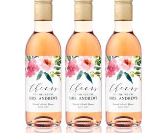 Bridal Shower MINI WINE Bottle Labels - Weatherproof Floral Cheers to the Future Mrs. Bachelorette Party Favors - Floral Watercolor Drop