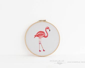 Cross Stitch Pattern, Flamingo, Flamingle, Tropical, Palm Beach, Counted Cross Stitch, Embroidery, PDF, ePattern, Instant Download