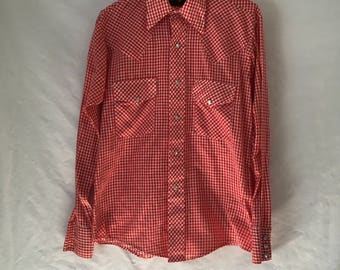 Stir-ups Medium Red and white gingham check pearl snap men's western shirt from the 1970s retro hipster rockabilly