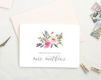 Personalized Thank You Cards. Future Mrs Thank You Cards. Thank You Notes. Wedding Bridal Shower Thank You Cards. Wedding Thank You MRS01