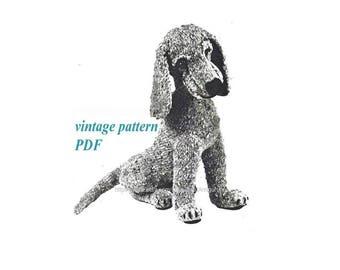 Vintage pattern  knitting dog Knit PDF pattern Symbol 2018 year How to knit dog Crochet dog pattern Instant digital download PDF-file