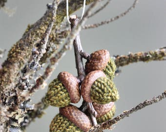 oak branch multi acorn hand knit ornament // one of a kind