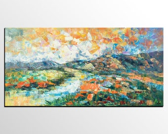 Abstract Painting, Canvas Artwork, Abstract Art, Mountain Landscape Art, Heavy Texture Wall Art, Original Oil Painting, Living Room Wall Art