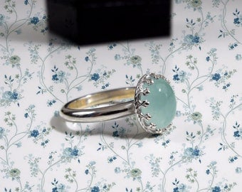 925 silver, or in 18 Kt gold, ring with aquamarine milk 9x11 - 0.77 Ct.