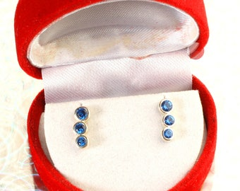925 Sterling Silver Created Blue Sapphire Ear Climbers Stud Earrings