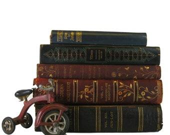 Antique Leather Books , Distressed Books , Decorative books ,  antique books ,  wedding decor , old books ,  book decor