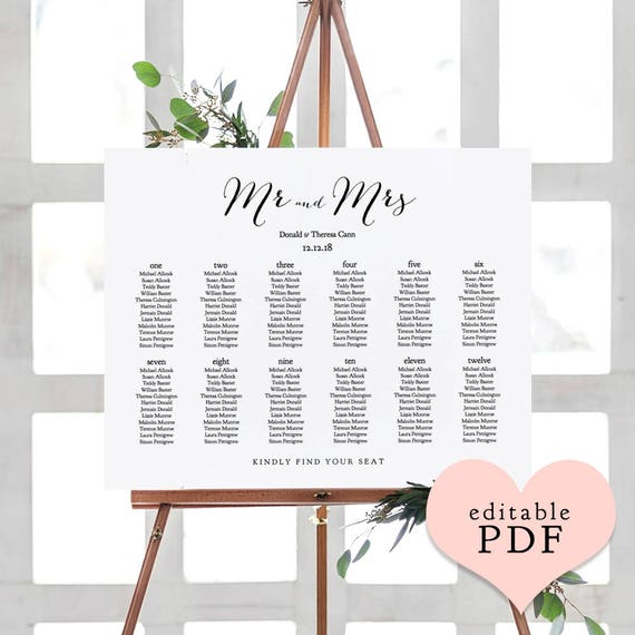 Wedding seating chart template printable 2