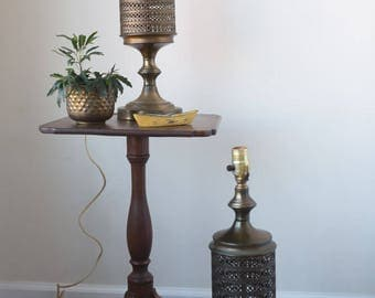 Vintage Leviton Brass Bronze Perforated Metal Bohemian Chic Lamps Pair Set of 2