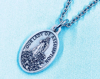Our Lady of the Assumption Necklace,Our Lady of the Assumption Medal,Catholic Jewelry,Confirmation Necklace,Stainless Steel Chain Choice