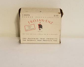 1950s Trojan enz box and contents