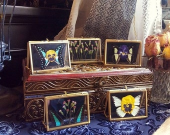 Real pressed flowers in gold metal cardholder