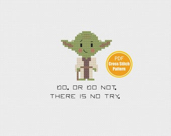 Yoda Cross stitch Pattern -  Star Wars Cross stitch Pattern - PDF Instant Download - Do or do not there is no try - Quote Crosstitch