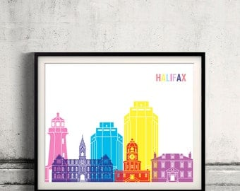 Halifax V2 pop art skyline Fine Art Print Glicee Poster Gift Illustration Pop Art Colorful Landmarks - SKU 2832