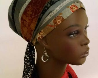 Lace and cotton sophisticated sinar tichel, tichels, chemo scarves, head scarves, hair snoods