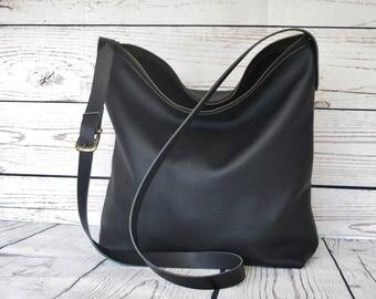 Black leather bag, shoulder bag, black handbag, leather purse, crossbody bag