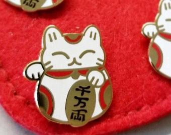Maneki Neko // Lucky Cat hard enamel pin