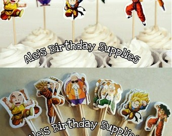 24 Pc Dragon Ball Cupcake Toppers Double Sided Birthday Party Supplies