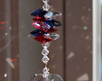 Swarovski Crystal 28mm Heart with Red, White and Blue Octagons Sun Catcher, Rainbow Maker, Window Prism for Home or Car