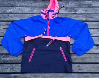 Vintage 80's /90's K-Way Colour block Pink / Blue / Packable Windbreaker Jacket Made in Canada