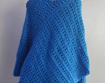 Blue crochet poncho with sleeves, poncho sweater,handmade poncho, poncho for women, womens poncho, girl poncho, girls poncho, holiday gifts.