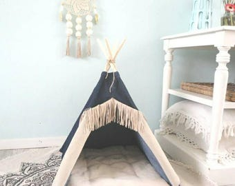 Pet teepee including pillow. Dog house. Cat bed. Tent. Tipi. Jeans & Dog teepee | Etsy