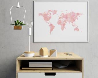 Nursery World Map Decor Nursery, Pink World Map Print, World Map Nursery Decor World Map Poster, World Map Wall Art, World Map Art
