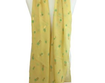 Pineapple Scarf, Pineapple Yellow Scarf, Gold Yellow Scarf, Metallic Scarf, All Season Scarf, Gift Scarf, Women Scarf, Tropical Scarf, Scarf