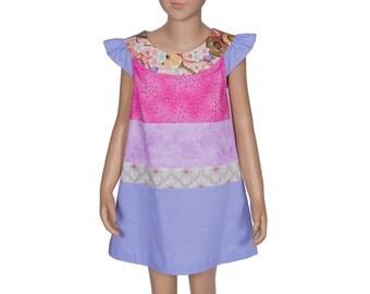 Girl's Dress, 5T, Multi Colored Dress, Rose Dress, Blue Dress, Gift for Daughter, Gift for Granddaughter