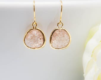 Earrings Gold-plated peach apricot