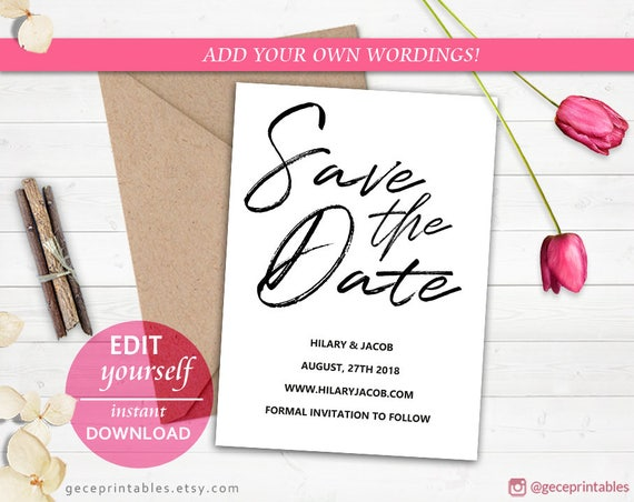 Instant Download Save The Date Printable Editable Template