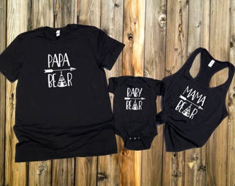 Papa Bear Mama Bear Baby Bear matching t shirts, Fathers day, Mothers day, baby shower, birthday gift