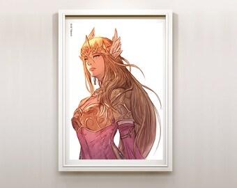 The Legend of Zelda Princess Zelda of Hyrule Art Print Poster (Soft Colors)